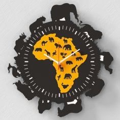 Laser Cut Africa Wall Clock Free Vector