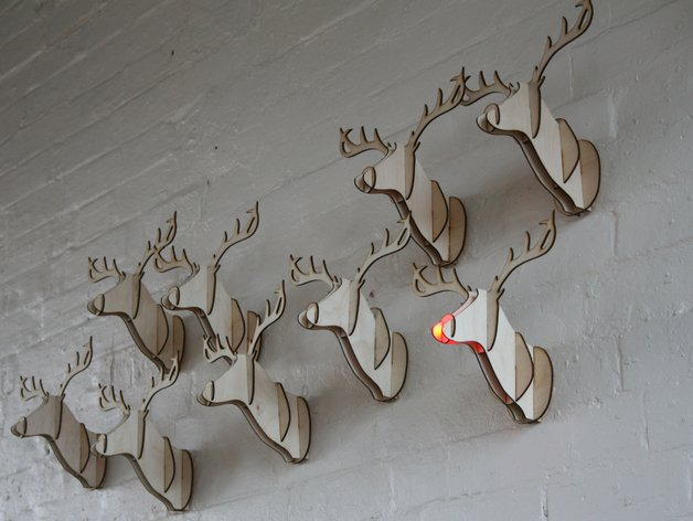 Laser Cut Reindeer Head DXF File