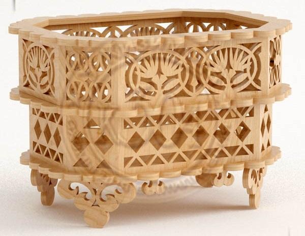 Laser Cut Wooden Decorative Basket CNC Plans Free Vector