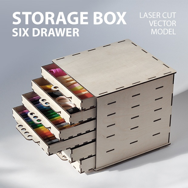 Laser Cut Storage Box with Drawers Free Vector