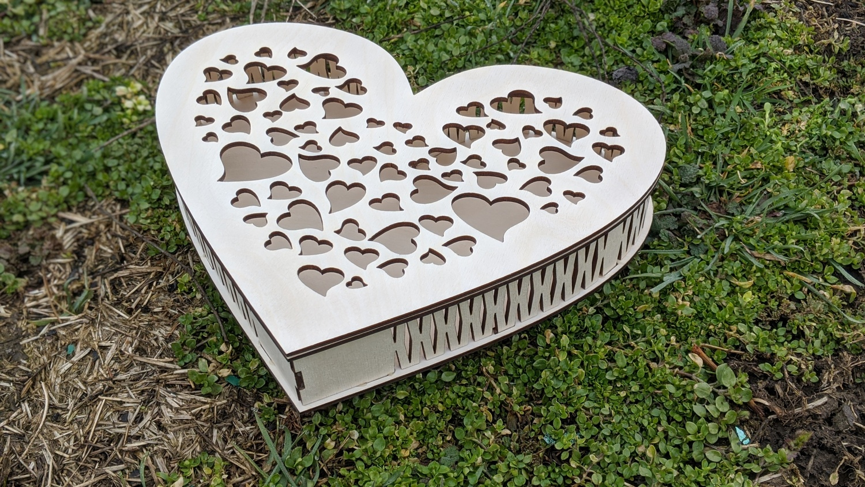 Laser Cut Decorative Heart Shaped Box Free Vector