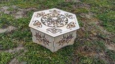 Hexagon Wooden Box Laser Cut Template Free Vector