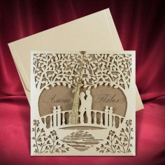 Invitation Card Couple Standing On Bridge Design Laser Cutting Template Free Vector