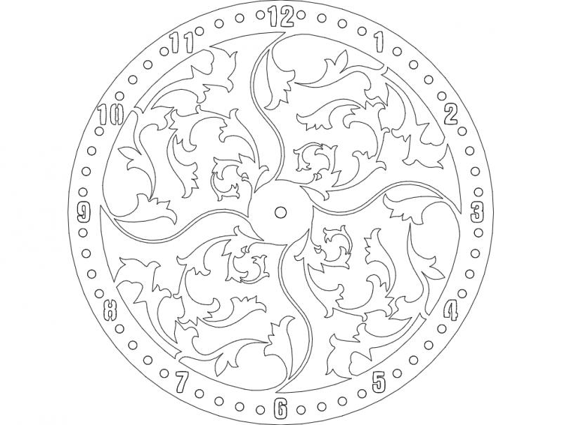 Clock floral design dxf File