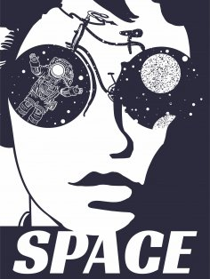 Woman Face Space Print Free Vector