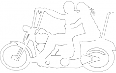 Two Up Motorcycle Riders dxf File