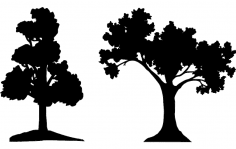 Trees Silhouette Vector dxf File