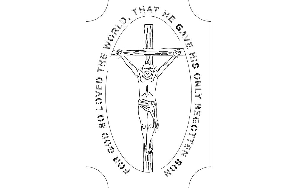 Jesus on Cross dxf File