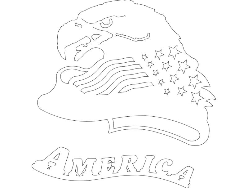 American Eagle Head dxf File