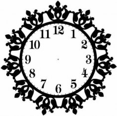 Floral Clock Design Vector Art jpg Image