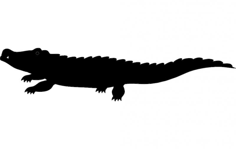 Crocodile Silhouette vector dxf File