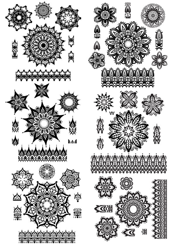 Mandala ornament set Vector Free Vector