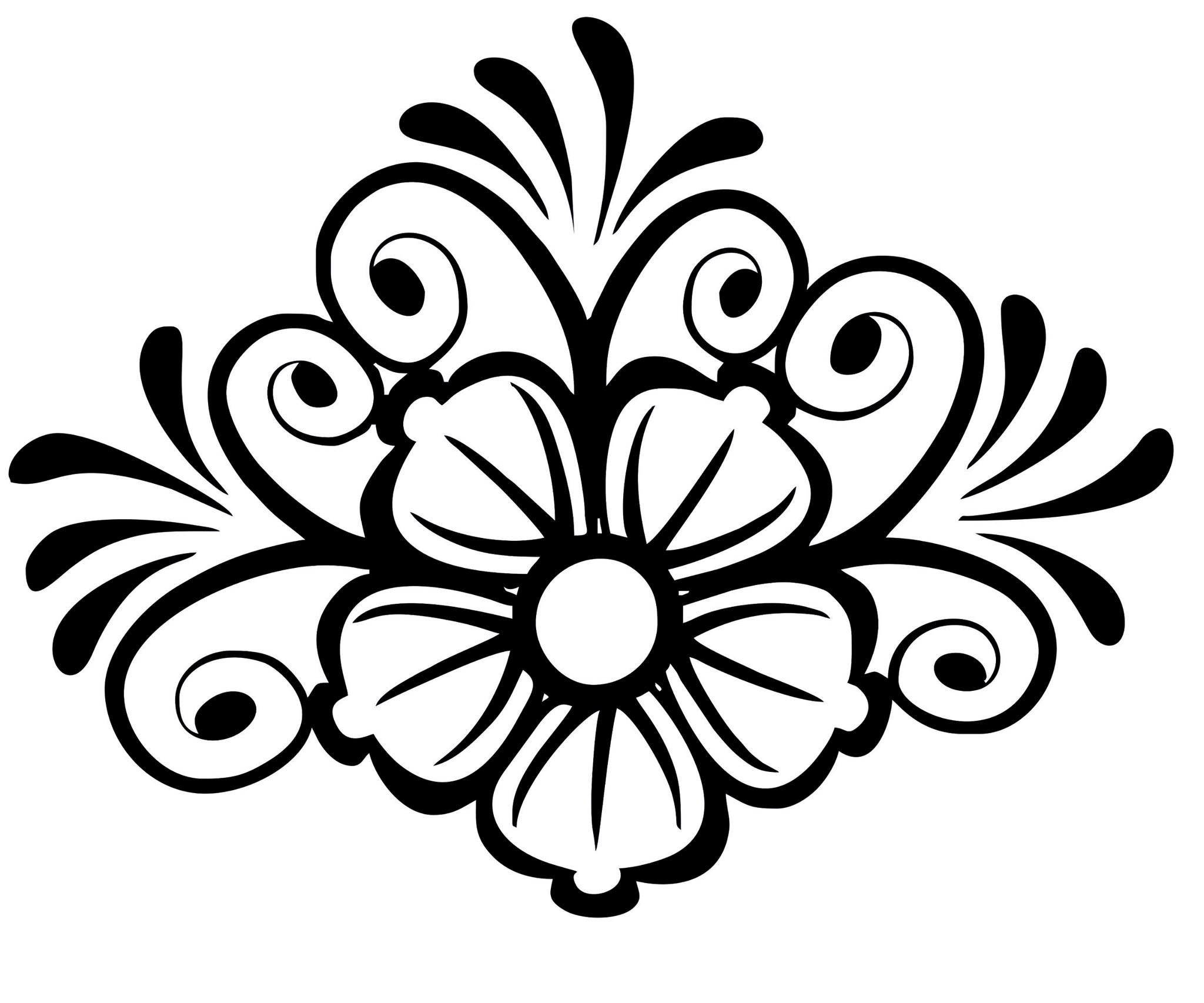 Black And White Lace Flowers And Leaves Vector Art jpg Image