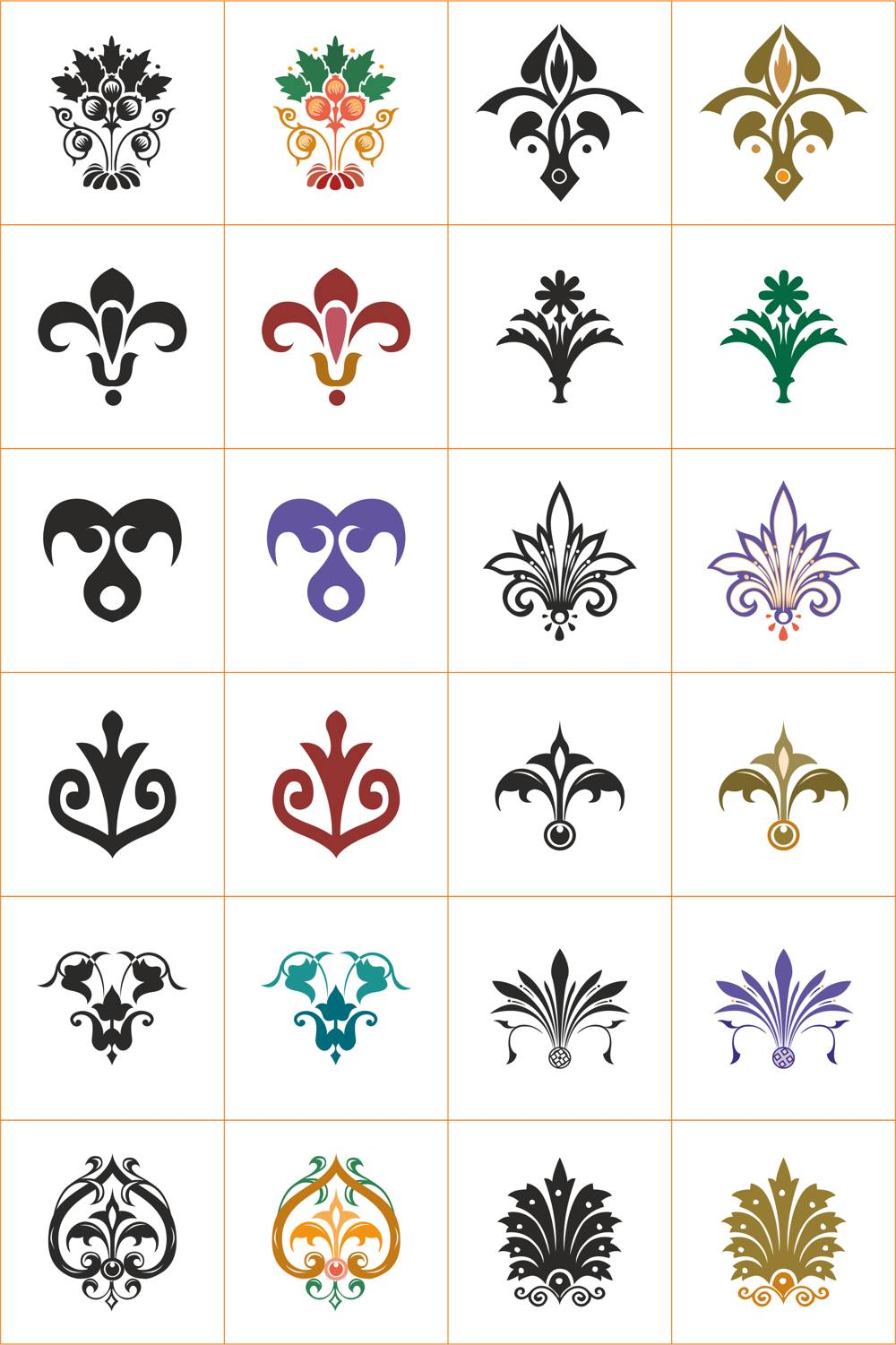 Floral Vector Ornaments Set Free Vector