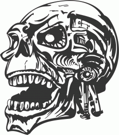 Skull Vector Head DXF File