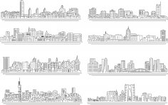 Line City Set Free Vector
