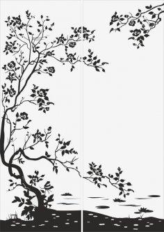 Flowers Sandblast Pattern Free Vector