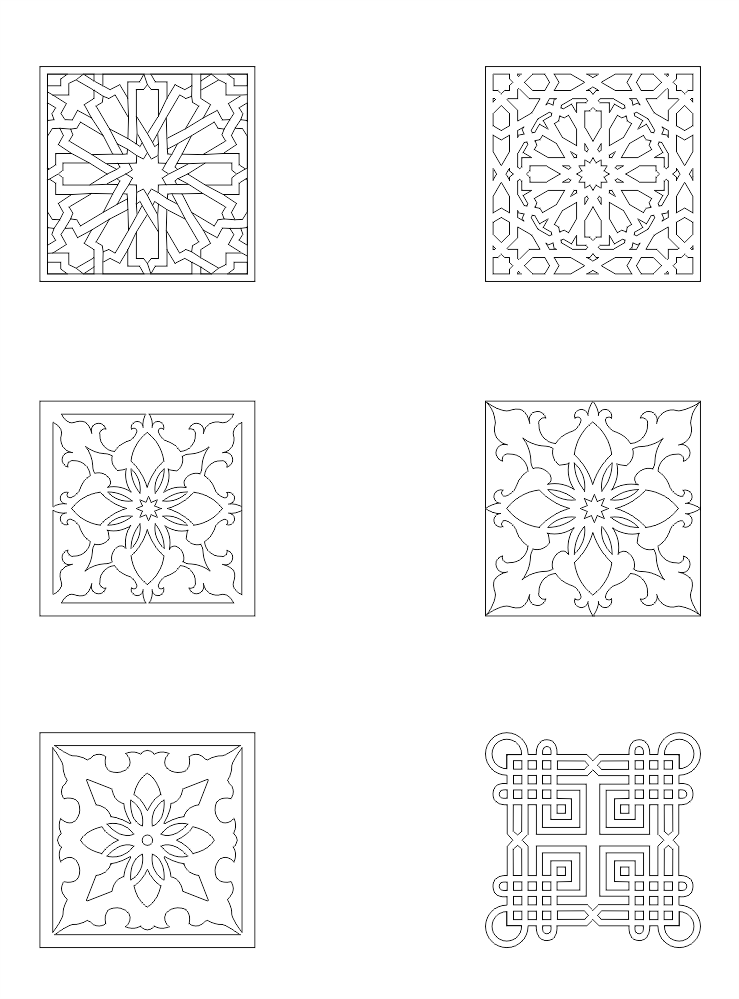 Collection of Square Ornaments DXF File