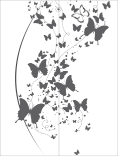 Flying Butterfly Clipart Black And White vector Free Vector