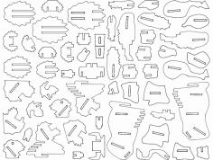 Buffalo 3D Puzzle dxf File