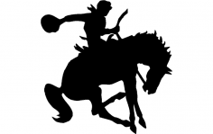 Man on Horse Silhouette dxf File
