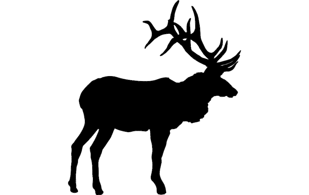 Large Bull Elk dxf File