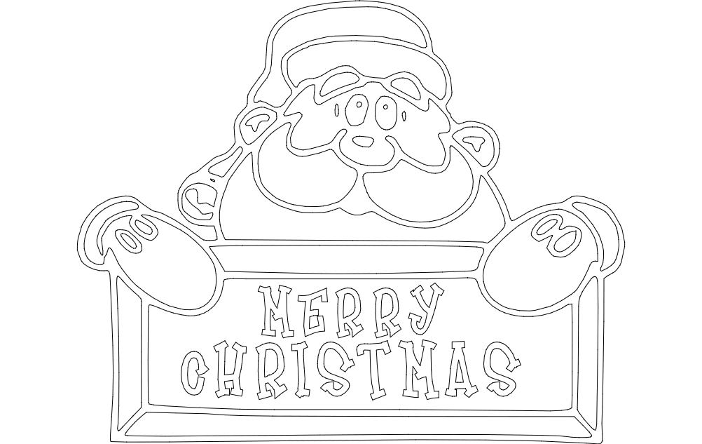 Merry Christmas Vector dxf File