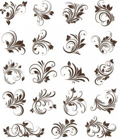Floral Ornaments Element Vector Free Vector