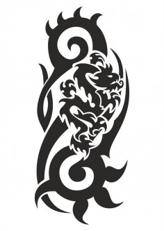 Dragon Black And White Vector CDR File
