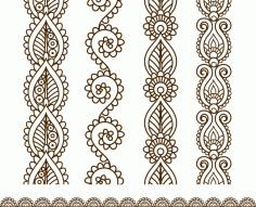 Mehndi style ornamental border CDR File