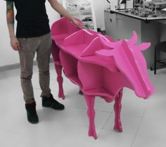 Cow Shaped Storage Shelf 3D Puzzle CNC Laser cut Free Vector