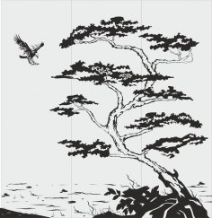 Tree Scene Sandblast Pattern CDR File