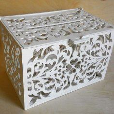 Rustic Wooden Card Box, Wedding Money Box Slot CDR File