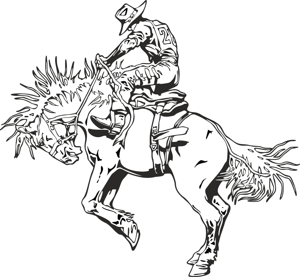 Rodeo rider western cowboy line art Free Vector