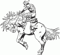 Rodeo rider western cowboy line art CDR File
