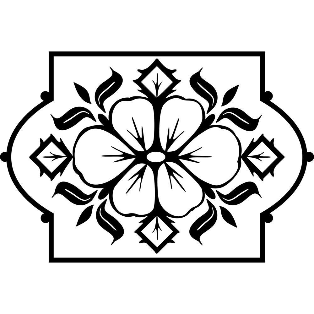 Flower Design in Frame Wall Sticker DXF File