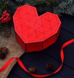 Laser Cut Heart Shape Wooden Gift Box Free Vector