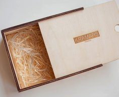 Laser Cut Wooden Packaging Box With Sliding Lid 180×180 3mm DXF File