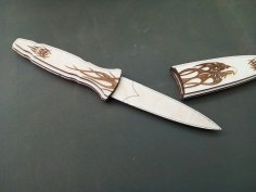 Laser Cut Knife with Engraving Free Vector