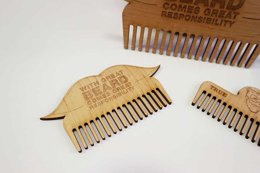 Laser Cut Beard Comb Template PDF File
