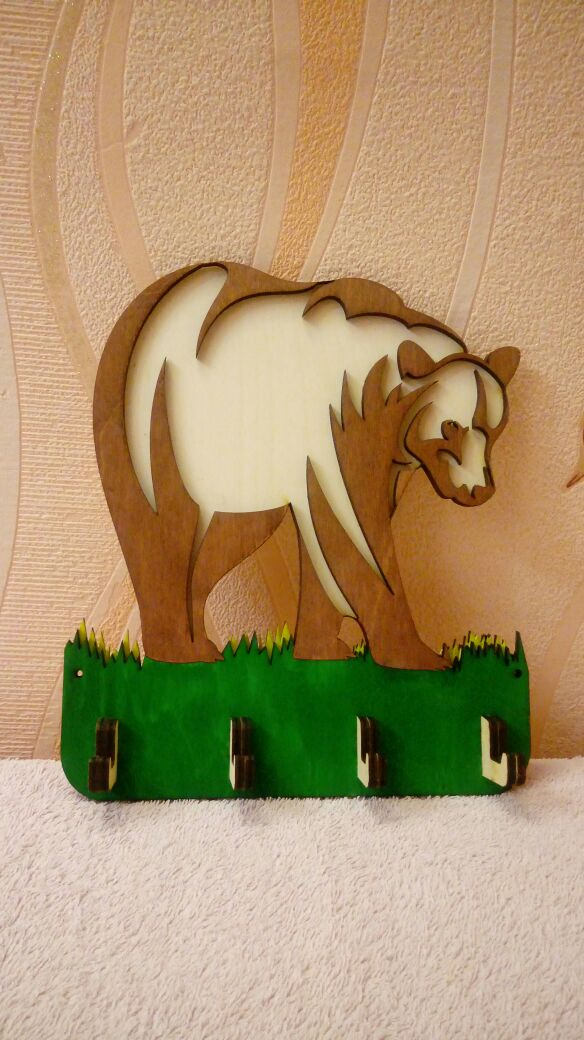 Laser Cut Hanger Housekeeper Bear Free Vector
