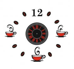 Laser Cut Coffee Clock Template Free Vector