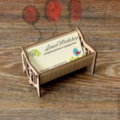 Laser Cut Wooden Business Card Holder Free Vector