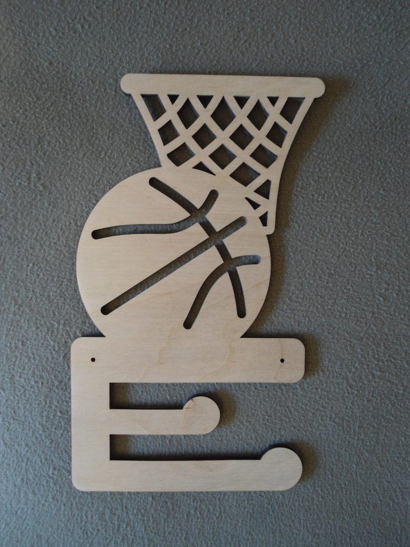 Laser Cut Medal Hanger for Basketball Players Plywood 6 8mm Free Vector