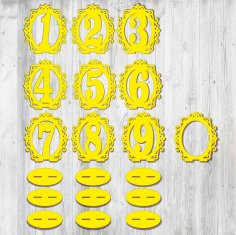 Laser Cut Wooden Table Numbers Template Free Vector