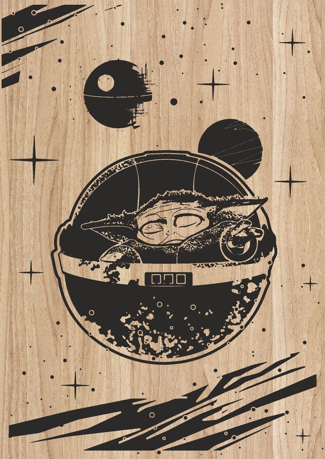 Laser Engraving Artwork Yoda Star Wars Character DXF File