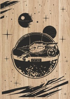 Laser Engraving Artwork Yoda Star Wars Character DXF File