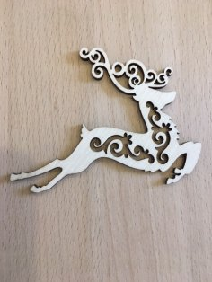 Laser Cut Decorative Santa Reindeer Plywood Toys For Christmas Free Vector
