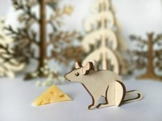Mouse Wooden Animal Kit Laser Cut Template CNC Free Vector