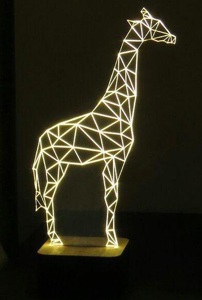 Laser Cut Giraffe 3d Optical Illusion Night Light Free Vector